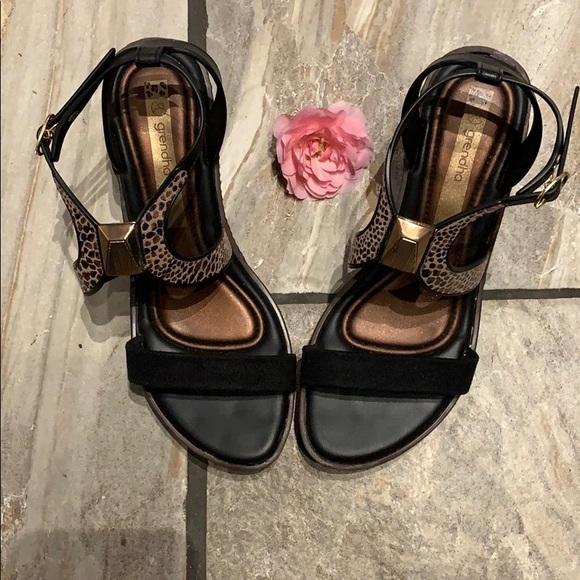 Cheetah Print Wedge Sandals Size 8